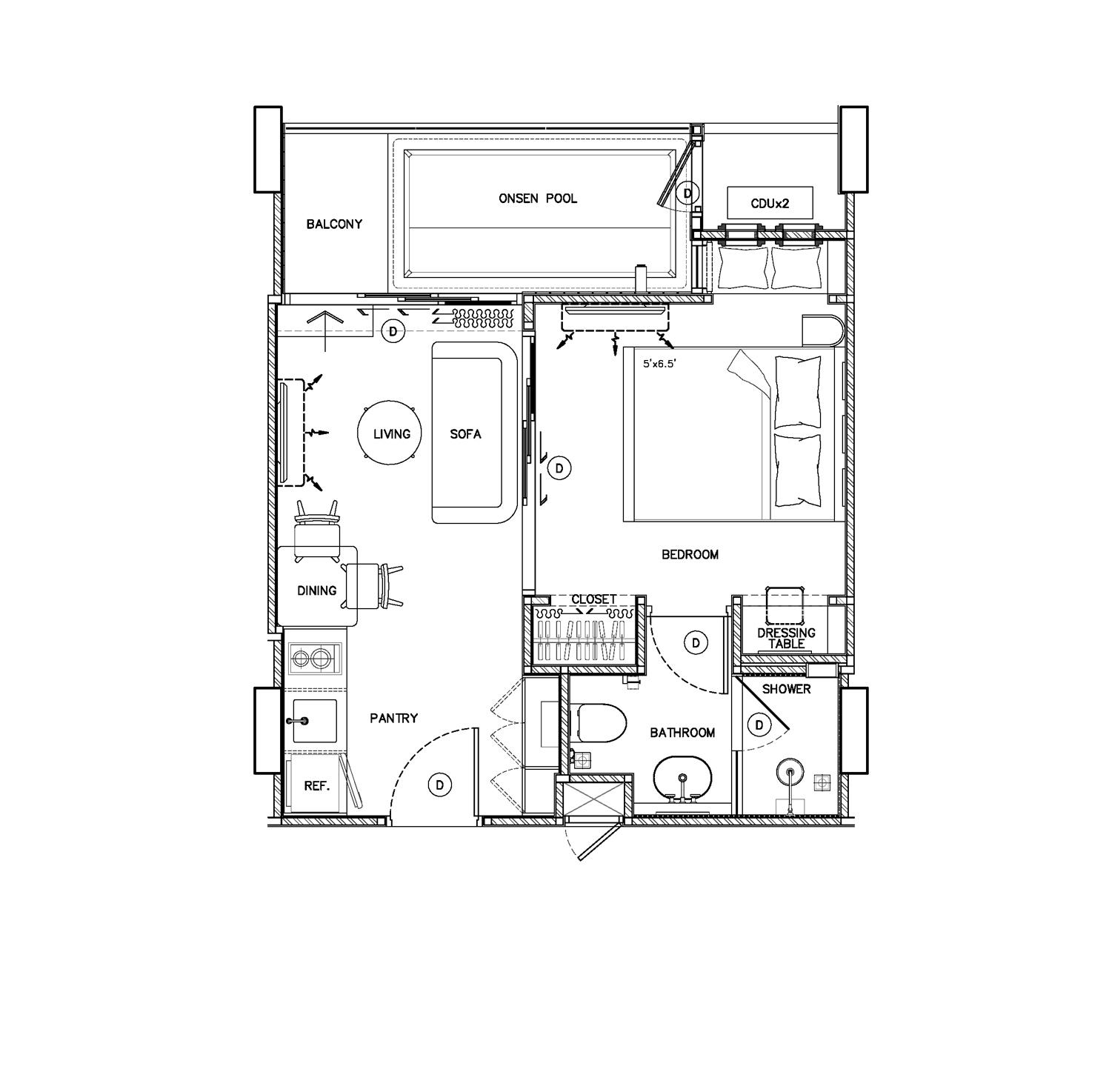 Onsen jacuzzi 1 bedroom