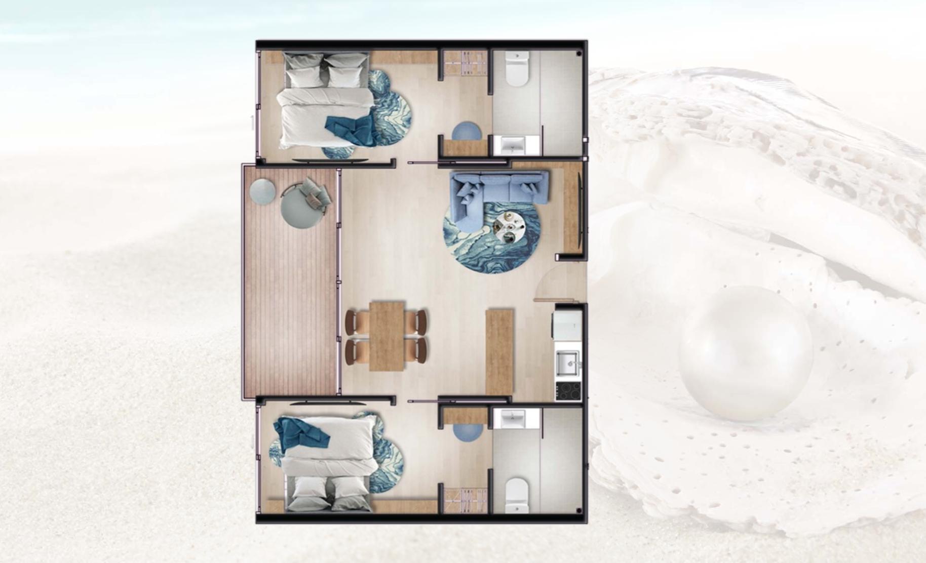 Two Bedrooms Unit Floor Plan