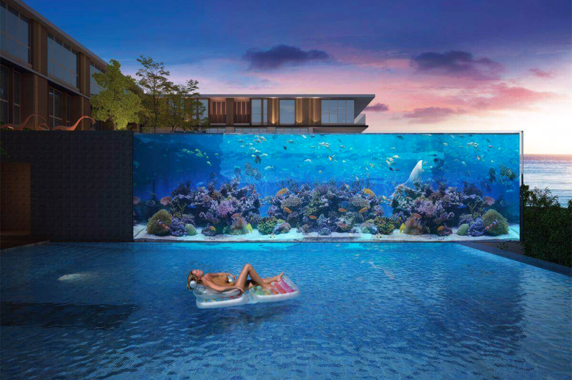 Resort styled condo with a large aquarium in Karon
