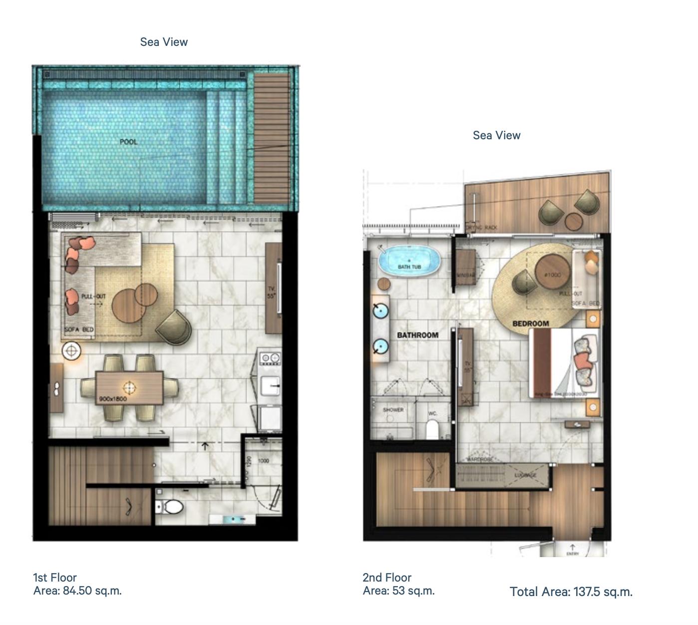 Floor plan pool villa B